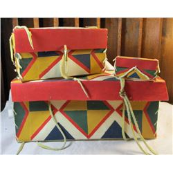 Three Piece Nesting Parfleche Native American Boxes