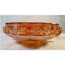 Vintage Orange Marigold Carnival Glass Rose Pattern Bowl With Handles