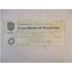 1921 State Bank of Oelrichs Check  E G Fowler