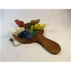 Folk Art Feeding Birds Paddle Toy #1442