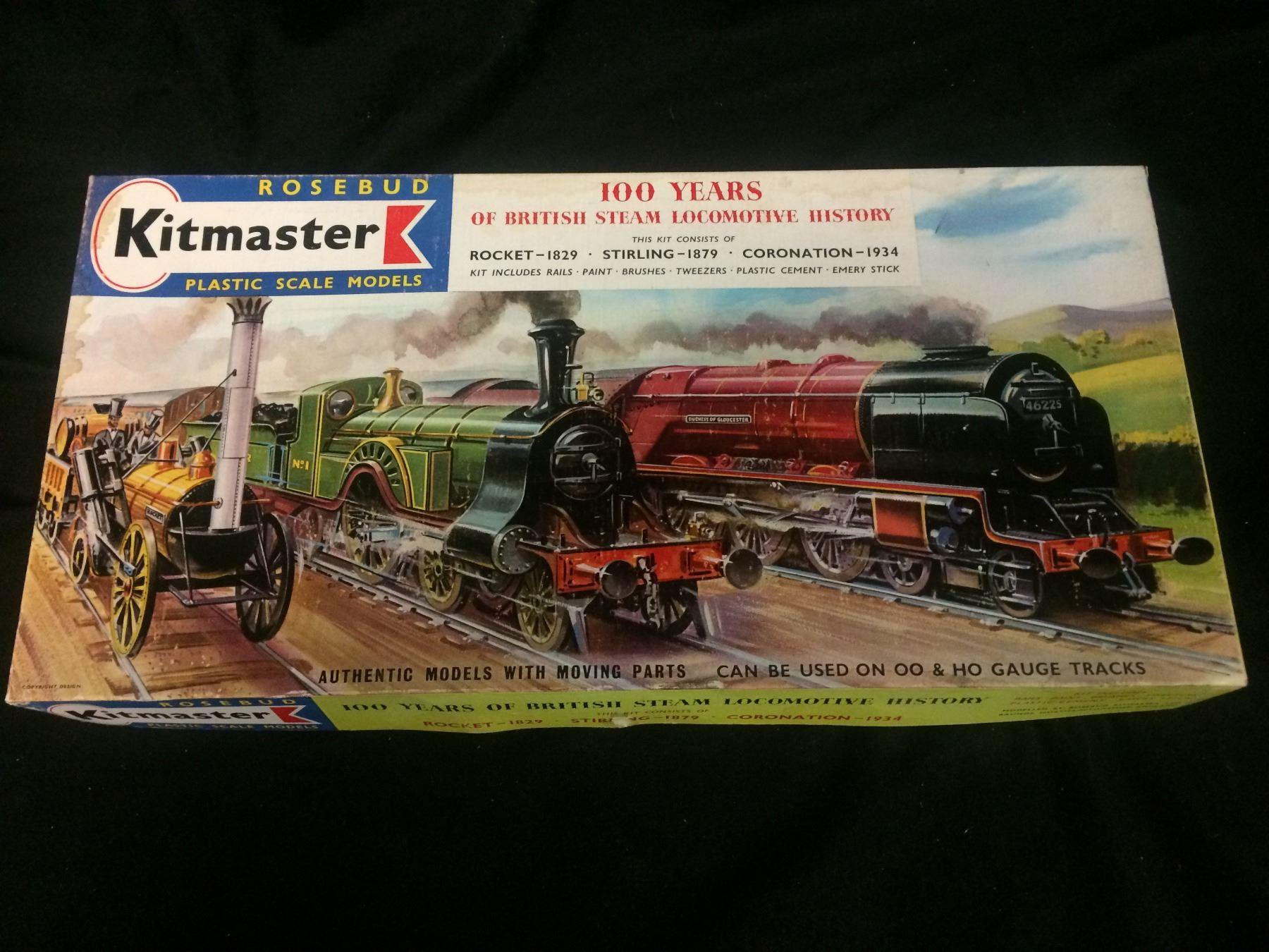 ROSEBUD KITMASTER PLASTIC MODEL KIT (IN BOXES) ROCKET-1829, STIRLING-1879,  CORONATION-1934