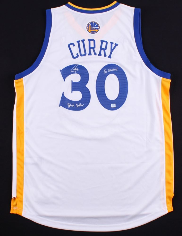buy online 98d08 244a4 Stephen Curry Signed Warriors Authentic Jersey Inscribed ...
