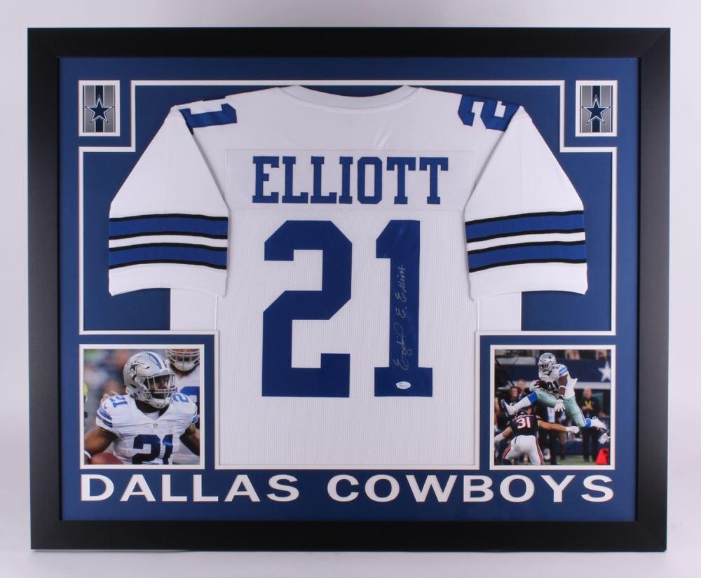 premium selection a7345 fb91b Ezekiel Elliott Signed Cowboys 35x43 Custom Framed Jersey ...