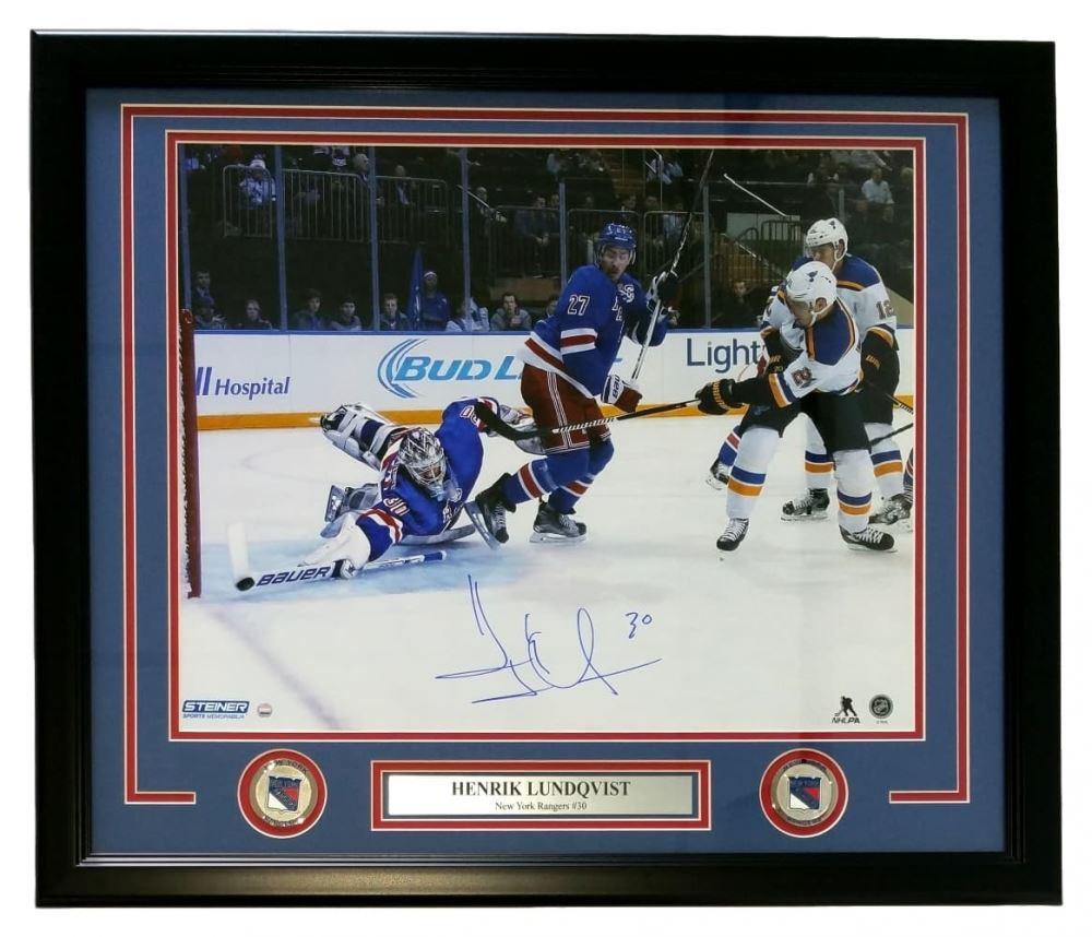 Henrik Lundqvist Signed Rangers 22 X 27 Custom Framed Photo