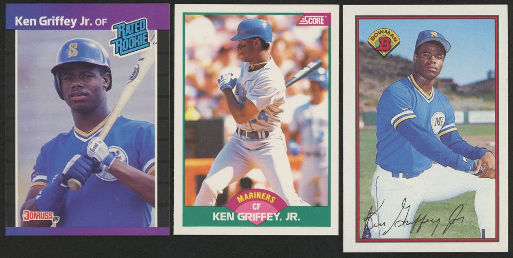 Lot Of 3 Ken Griffey Jr Rookie Cards With 1989 Donruss 33