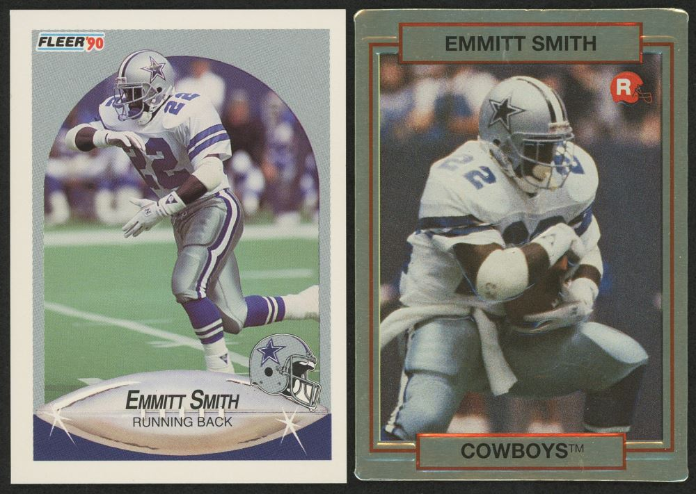 Lot Of 2 Emmitt Smith Rookie Cards With 1990 Action Packed Rookie