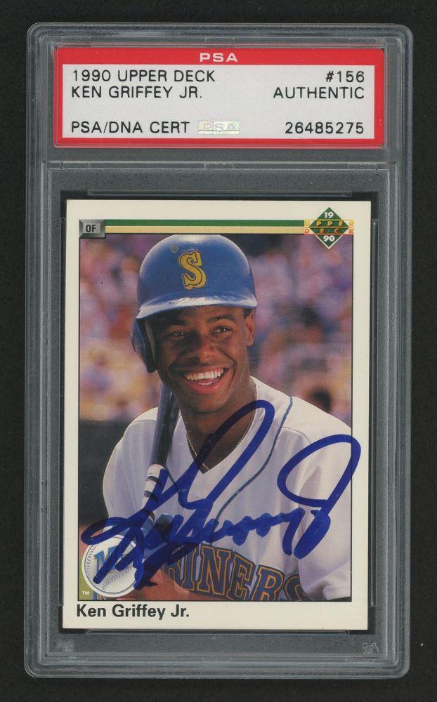 Ken Griffey Jr Signed 1990 Upper Deck 156 Baseball Card