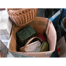LARGE BOX OF WICKER BASKETS AND PLASTIC BOWLS