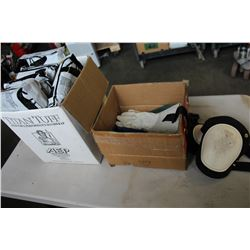 BOX OF SUPPORT BELTS KNEEPADS AND WORK GLOVES