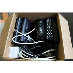 BOX OF TELUS CABLE BOXES AND REMOTES