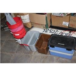 LOT OF RED BUCKETS AND CONTAINERS