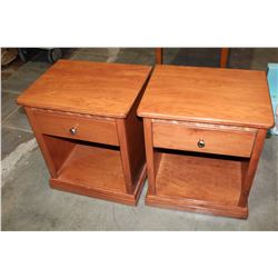 PAIR OF WOODWORKS FUSION INC 1 DRAWER NIGHTSTANDS