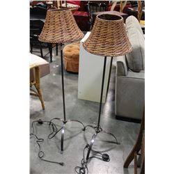 PAIR OF 50 INCH METAL BASE FLOOR LAMPS WITH ADJUSTABLE RATTAN SHADE