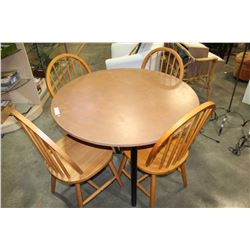 MAPLE WITH BLACK BASE TABLE AND FOUR HOOPBACK CHAIRS