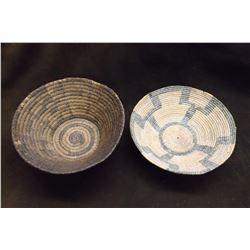 """2 Vintage Baskets- Pima 9.5"""" W X 3.5"""" H- Papago 9""""W X 2.5"""" H"""