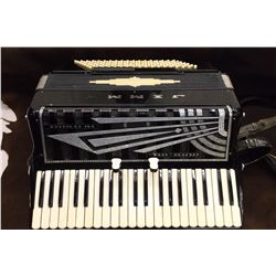 "Marked Jimmy Columbo & Sons San Francisco Accordian with Case- Y is missing- Case 21""W X 18""D"