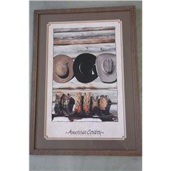 """American Cowboy Print- David R Stoecklein- Frame 40.5""""H X 29""""W"""