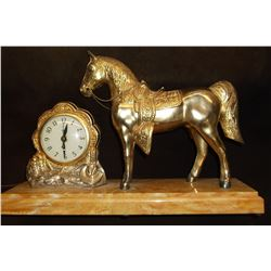 "United Clock Corp. Horse Clock- Model 310- Clock Works- Base 17""L X 5""W"