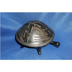 "Black On Black Mata Ortiz Turtle Pot- 5.5""H X 7""W"