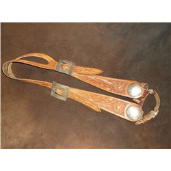 "Marked Schenk's Saddlery Harlowtown Mont.- One Eared Carved Headstall- 2"" Engraved Dome"