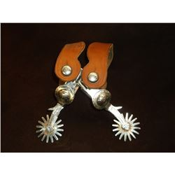 Marked Crockett Nickel Plated Spurs- Frontier Pattern- Arrow Shanks- Straps- Chap Guards- 15 Point R