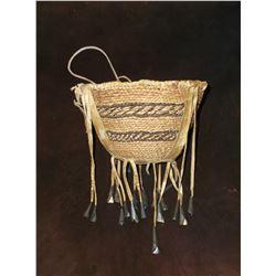 "Apache Burden Basket- C. 1930- Trade Beads- Leather Bottom- 6""H X 9""W"