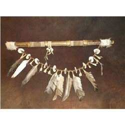 """Rawhide Wrapped and Beaded Flute- Antler Buttons- Feathers- Shell Cases- 20"""""""