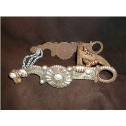 Marked El Gato Silver Inlaid Bit- Carmel Cheek- Spade Mouth- Slobber Chains- Engraved Spade