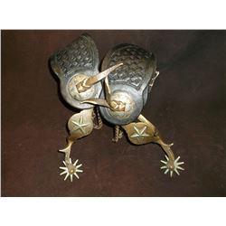 Star Marked Beurmann Spurs- Hercules Bronze- Star Pattern- Drop Shank- Chap Guards