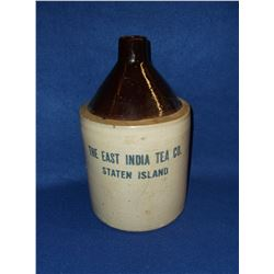 Marked The East India Tea Co. Staten Island Crock Jug- Chip in Spout and Bottom