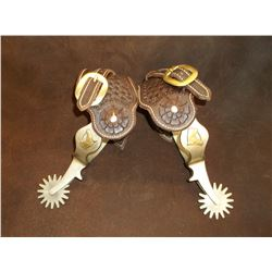Marked Ricardo Nickel Silver Spurs- Brass Horse Heads- Engraved- Chap Guards- New Stamped Straps
