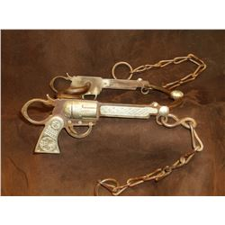 Marked CCSC- JF (Canon City Spur Co.- Jack Ferguson) Silver Inlaid Pistol Bit- Curb Mouth- Slobber B