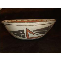 "Zia Dough Bowl- C. 1920- Hand Painted- 4.5""H X 11.5""W"