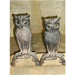 "Owl Andirons- 21"" L X 14"" H"