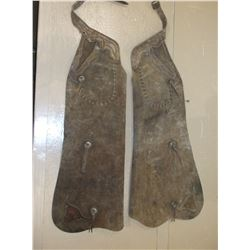 "Unmarked Batwing Chaps- Chonchos- Leather Steer Heads- 41""L"