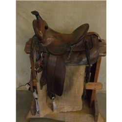 "Marked HH Heiser Maker Denver Colo. Saddle- 15"" Seat- Slick Fork- Exposed Fenders- Shovel Cantle"