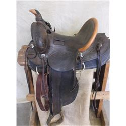 "Marked Miles City Saddlery Makers Miles City Mont  Loop Seat Saddle- Numbered 95- 14"" Seat"