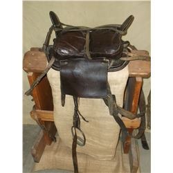 Mongolian Saddle- C. 1920- Very Rare- Mongolian Letter Stamped on Fender- Breast Collar- Crupper