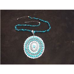 "Turquoise Necklace With 3.5"" X 3.25"" Medallion- Etched"