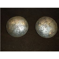"Unmarked Silver Domed Conchos- 2""- Engraved"
