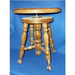 "Claw and Ball Organ Stool- Adjustable 19""H X 15""W"
