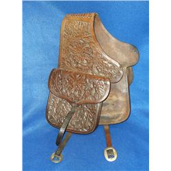 "Unmarked Heavy Leather Carved Saddle Bags 9""H X 8""W"