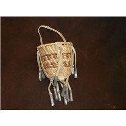 "Apache Burden Basket- C. 1960- Hand Woven- Beads- 4.5""H X 4""W"