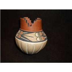 "Marked VP Fraqua Jemez Vase- Jemez Pueblo- Stepped- 5""H X 4.5""W"