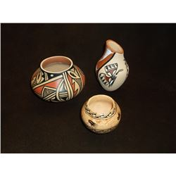 3 Signed Jemez Pueblo Pots- Sunfire- Chinana- Contemporary