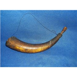 "1800's Powder Horn- Carved Indian Motiff  12""L"