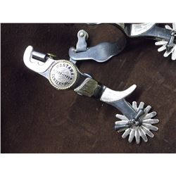 Marked Colorado Saddlery Korea Montana Centennial 1889-1989 Overlaid Spurs- Drop Shank- Chap Guards-