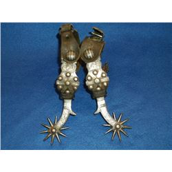 Unmarked Early California Silver Inlaid Spurs- Target Pattern- Drop Shank- Chap Guards- Heel Chains
