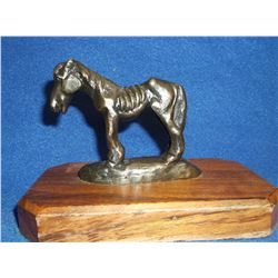 "Marked Ace Powell Bronze- Base 6""L X 3.5""W- Horse 3""H X 3.5""L"
