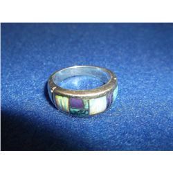 Marked HH SS Mexico- Zuni Inlaid and Strerling Ring